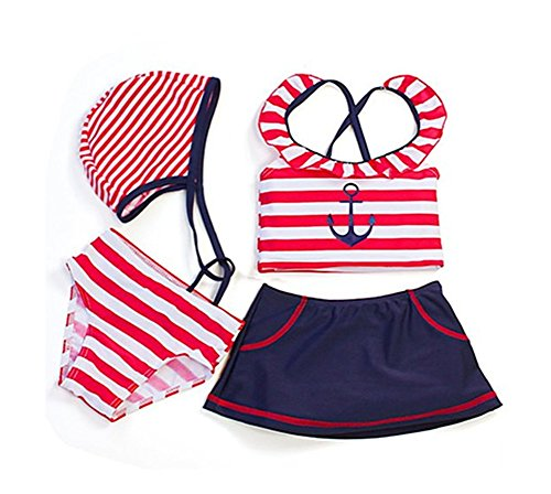 Age 1-6 Beach Girls Sailor Anchor Striped 4-pc Swimsuit Set (6T)