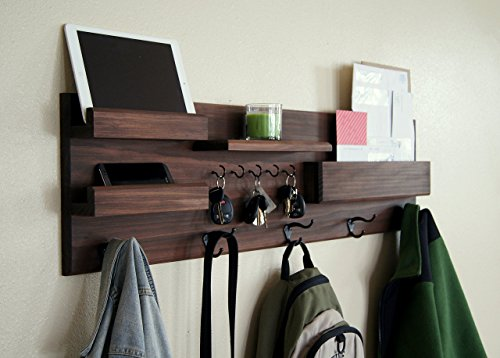 Entryway Organizer Coat Rack and Key Hooks Mail Storage Sunglasses Storage by Midnight Woodworks