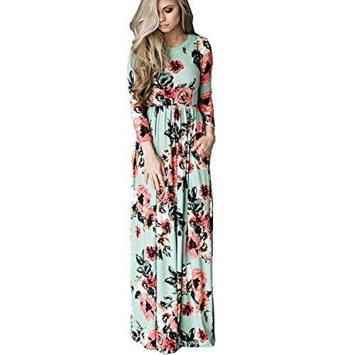 Women Fashion Floral Sun Long Dress(Green) - 7
