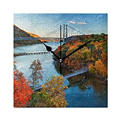 ZHOUSUN Silent Wall Clock Hudson River Valley Autumn Large for Home/Office/Kitchen/Bedroom/Living Room 7.87x7.87Inch