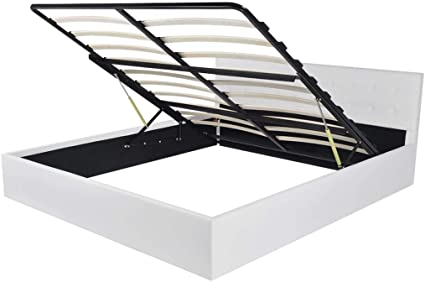 vidaXL Cama Canapé Almacenaje Abatible Hidráulica Cuero Artficial Blanco 180cm