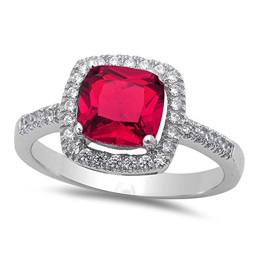 - Solitaire Halo Wedding Engagement Ring Cushion Cut Simulated Red Ruby Round CZ 925 Sterling Silver