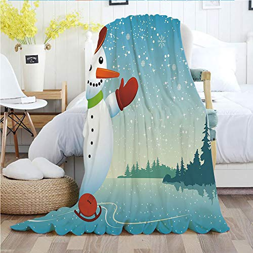 Ylljy00 Snowman,Throw Blankets,Flannel Plush Velvety Super Soft Cozy Warm with/Cartoon Happy Character Skating on ICY River Forest Trees Snowy Country/Printed Pattern(50