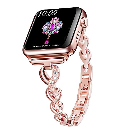 Sangaimei Watch Band Stainless Steel Band Wrist Straps with Crystal Rhinestone Diamond Compatible for Apple Watch Series 4/3/2/1/ (Rose Gold 38/40mm and White Diamond)