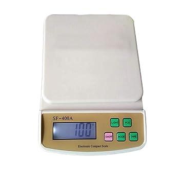 Básculas de cocina digitales, acero inoxidable Básculas de alimentos para cocinar digital 22lb / 10kg Luz de fondo LCD unidad de pantalla g/oz / ml/fle ...