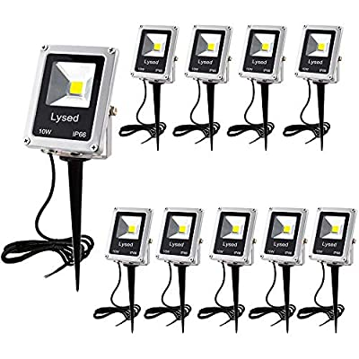 Lysed 10W LED Landscape Lights Low Voltage Spotlights Pathway Lights 12V 24V Warm White IP66 Waterproof Walls Trees Flags Outdoor Spotlights Outdoor Garden Lights with Spike Stand(10 Pack)