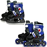 SK8 Zone Boys Blue 2in1 Roller Blades Inline Skates Adjustable Size Childrens Kids Pro Combo Multi Ice Skating Boots Shoes New (Small 9-12 (27-30 EU))