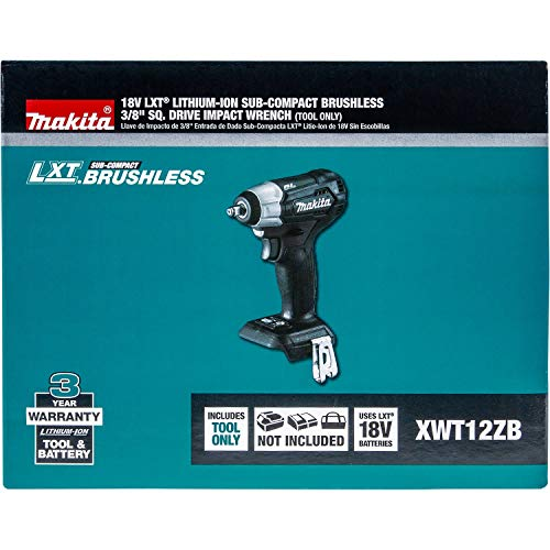 Makita XWT12ZB 18V LXT Lithium-Ion Sub-Compact Brushless Cordless 3/8'' Sq. Drive Impact Wrench, Tool Only by Makita (Image #7)