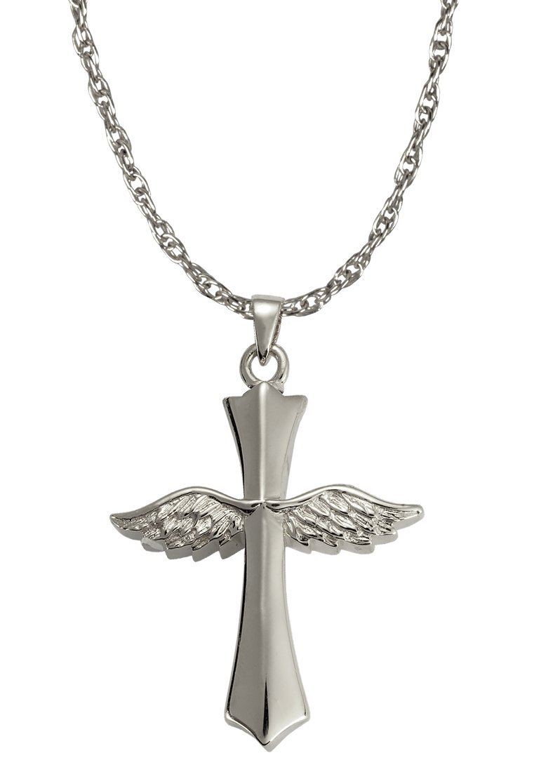 Memorial Gallery MG-3060s Winged Cross Sterling Silver Cremation Pet Jewelry