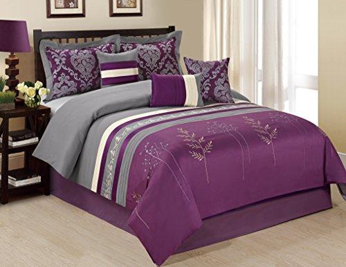 ala Tree Branch Print & Embroidery Purple/Grey Comforter Set Queen King Cal.King (Queen, Purple) (Branch Comforter Set)