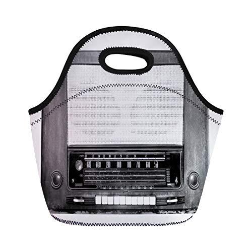 - Semtomn Lunch Bags Brown Black Band Vintage Tube Radio Receiver White Old Neoprene Lunch Bag Lunchbox Tote Bag Portable Picnic Bag Cooler Bag