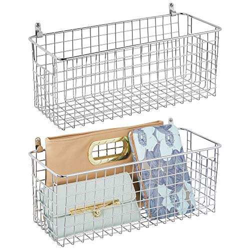 mDesign Portable Metal Farmhouse Wall Decor Storage Organizer Basket Bin with Handles for Hanging in Entryway, Mudroom, Bedroom, Bathroom, Laundry Room - Wall Mount Hooks Included, 2 Pack - Chrome