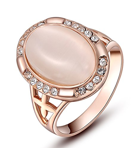 Womens Oval Shape Cut Opal Engagement Wedding Cocktail Rose Gold Ring Pave Crystal Band Size 8