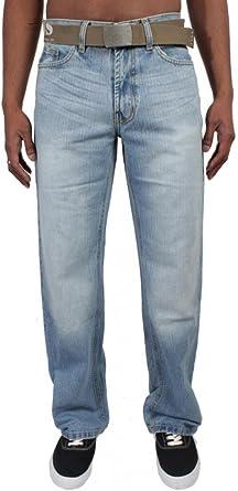 Mens Bootcut Loose Fit Dark Blue Wide Flare Leg Distressed Denim Jeans Big Sizes