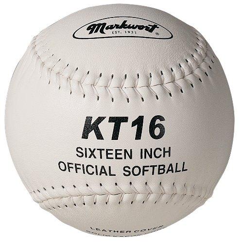 Markwort 16-Inch White Leather Cover Softball, White Stitch ()