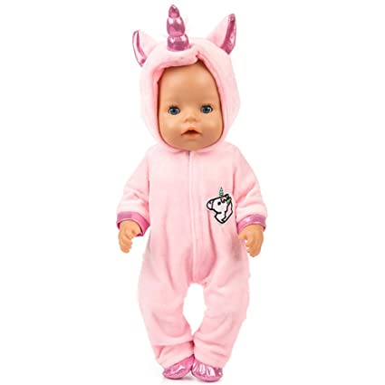 43d7e3f2a EVAIL Unicorn Doll Clothes Unicorn Costume Jumpsuit Cute Pink Hoodie with  Shoes for New Born Baby