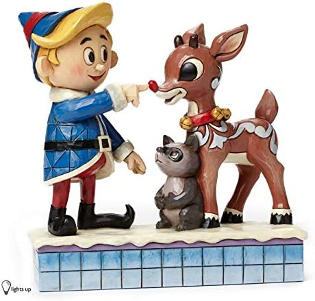 Jim Shore for Enesco Hermey Touching Rudolph s Nose Figurine, 5.4