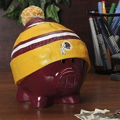 Washington Redskins Piggy Bank - Large With Hat - Licensed NFL Football Merchandise