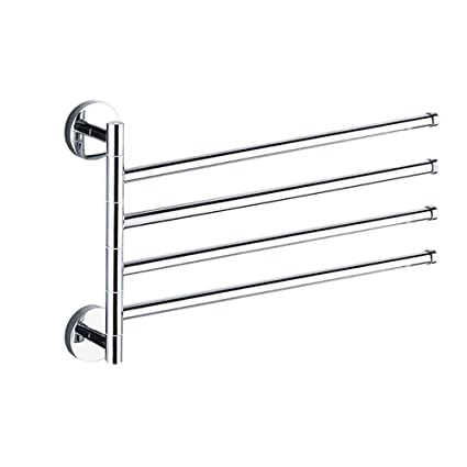 Stainless Steel Swing Out Towel Bar Adjustable 4 Bar Folding Swivel Arm Towel  Bar Swing