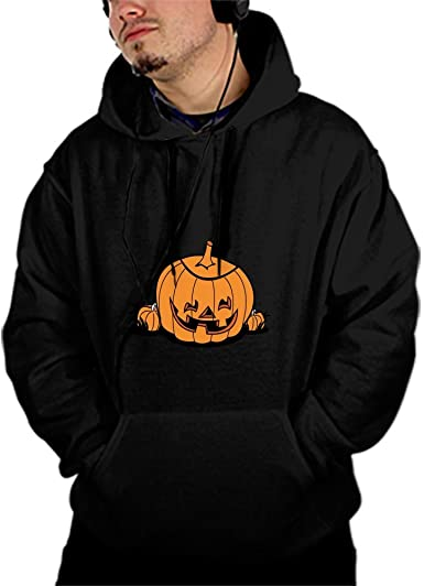 Mens Pumpkin Pullover Hoodie Sweatshirts Active Jackets