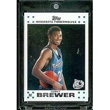 2007 08 Topps Corey Brewer Minnesota Timberwolves Rookie NBA Basketball Card #7
