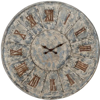Antiqued LARGE Metal Tin Clock - fun unique wall clock sale