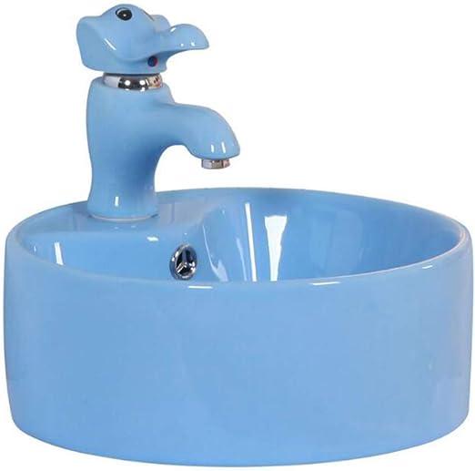 GongDi Lavabo Infantil de cerámica de Color Azul Lavabo Mesa Especial para niños sobre Lavabo Lavabo de baño de jardín de Infantes: Amazon.es: Hogar