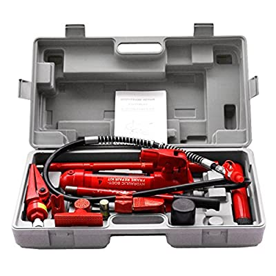 ZENY 4 Ton Portable Porta Power Hydraulic Ram Hydraulic Jack Auto Body Frame Repair Kit Tools w/Carrying Case