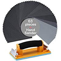 63Pcs 60 to 3000 Grit Wet Dry Sandpaper Assortment 9 x 3.6 Inches with Aouker Hand Sander for Automotive Sanding, Wood Furniture Finishing And Wood Turning Finishing