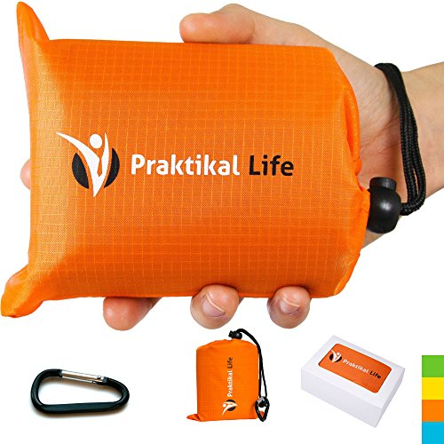 """PRAKTIKAL Pocket Blanket -Compact,Picnic,Beach, Outdoor (66"""" x 55"""") Made From Premium Soft and Lightweight Waterproof Material Ideal for Camping/Hiking with Practical Pouch and Free Carabiner (Orange)"""