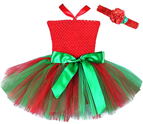(FANCYINN Christmas Tutu Dress for Girls Crochet Tube Top Party Pettiskirt with Headband 6-7 Years Red Green )