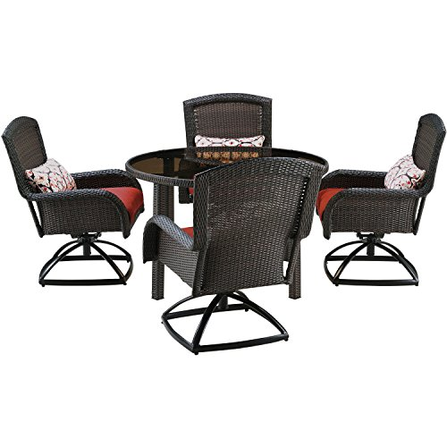 Hanover STRADN5PCSW-RED Strathmere 5 Piece Swivel Dining Set with 48