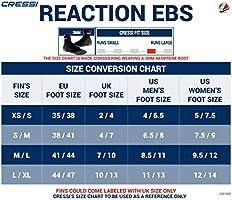 Cressi Powerful Open Heel Adult Scuba Diving FinsReaction EBS made in Italy