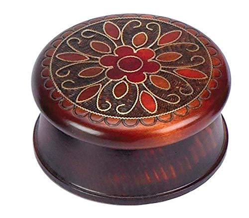 Polish Handmade Linden Wood Floral Round Box Small Jewelry Keepsake Box