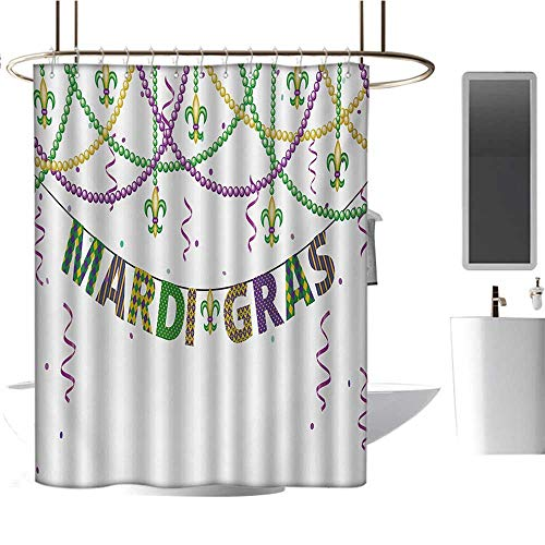 Mardi Gras Patterned Shower Curtain Festive Design with Fleur De Lis Icons Hanging from Colorful Beads Bathroom Accessories Purple Green Yellow
