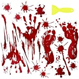 LAWOHO Bloody Handprints & Footprints Halloween Party Decor Horror Stickers Vampire Party Supplies Zombie Decor Creepy Wall Decor