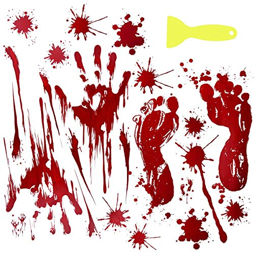LAWOHO Halloween Party Stickers Window Clings Wall Decals Vampire Zombie Party Decorations Supplies Bloody Handprint Footprints Living Floor Bathroom Decor -