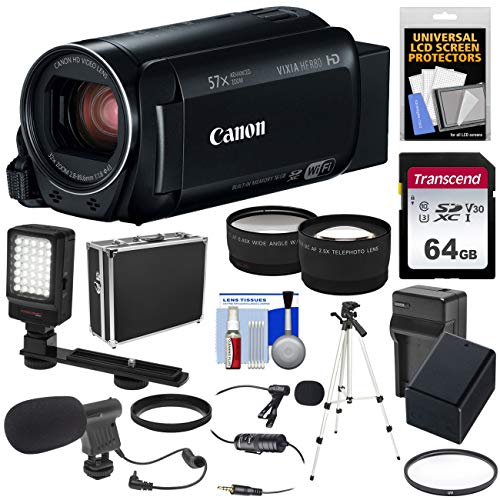 - Canon Vixia HF R80 16GB Wi-Fi 1080p HD Video Camera Camcorder + 64GB Card + Battery & Charger + Hard Case + Tripod + LED + 2 Microphones + 2 Lens Kit