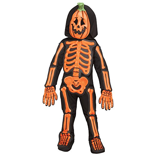 Toddler Skeleton Costumes - Toddler Skele-Jack Orange Skeleton Costume size