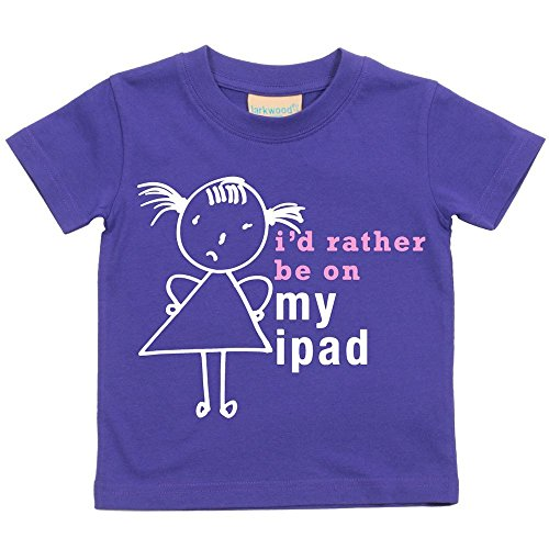 Price comparison product image 60 Second Makeover Limited Big Girls' I'd Rather Be On My iPad T-Shirt Daughte 9-11 Years Purple