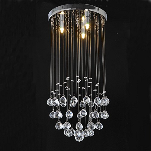 LightInTheBox Modern Crystal Dome Light Chandelier Crystal Rain Drop Pendant Lighting Flush Mount 3 Bulb Included for Living Room Bedroom Dinning Room - Crystal Dome Flush