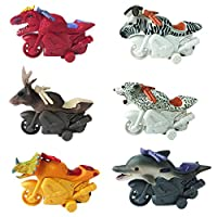 Huji Friction Powered Animal Toy Motorcycles for Kids, Party Favor Toys (6 Motorcycles)