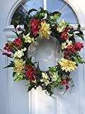 Ray Of Sunshine Silk Floral Wreath Red And Yellow Artificial Flowers Indoor Spring Summer Fall Seasonal Decor