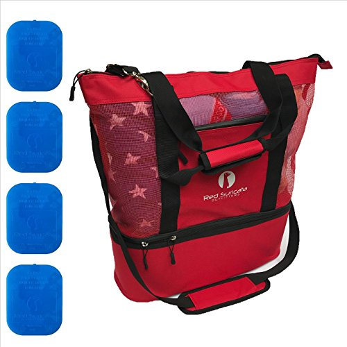 Red Suricata Improved Mesh Beach Bag with Leak-proof Rigid Cooler (Red)