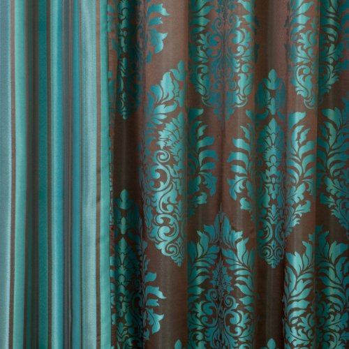 Best Home Fashion Wide Width Damask Jacquard Curtain Antique Bronze Grommet Top Teal 90 W