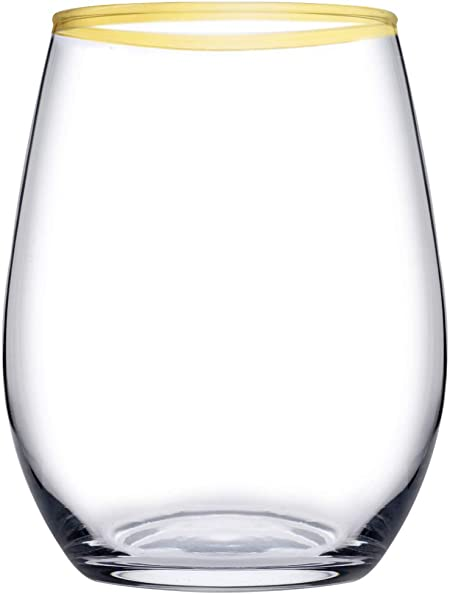 Pasabahce Amber Paquete de 6 vasos, cristal, transparente con borde dorado, 35 cl: Amazon.es: Hogar