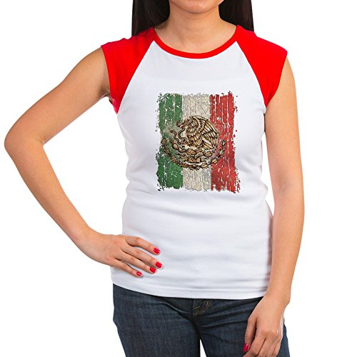 Royal Lion Women's Cap Sleeve T-Shirt Mexican Flag Mexico Grunge - Red/White, M (8-10) (Mexico Cap Womens T-shirt Sleeve)