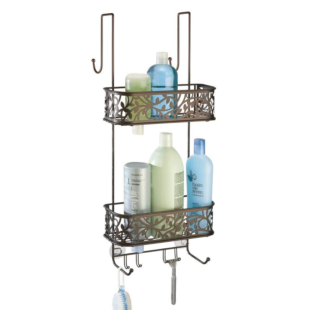 mDesign Estanteria para ducha - para colgar en la puerta - Estanteria de baño colgante en metal resistente - Repisa con baldas para baño con amplio espacio para champú, jabón, esponja y más