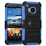 HTC One M9 Case - KAYSCASE Heavy-Duty Belt Clip Dual-layer ArmorHolster Hybrid Cover Case for the HTC One M9 Smart Phone 2015 Version (Blue)