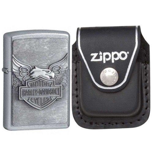 (Zippo 20230-HD Street Chrome Iron Eagle Emblem Windproof Lighter with Zippo Black Leather Clip)
